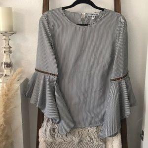 Striped embellished top